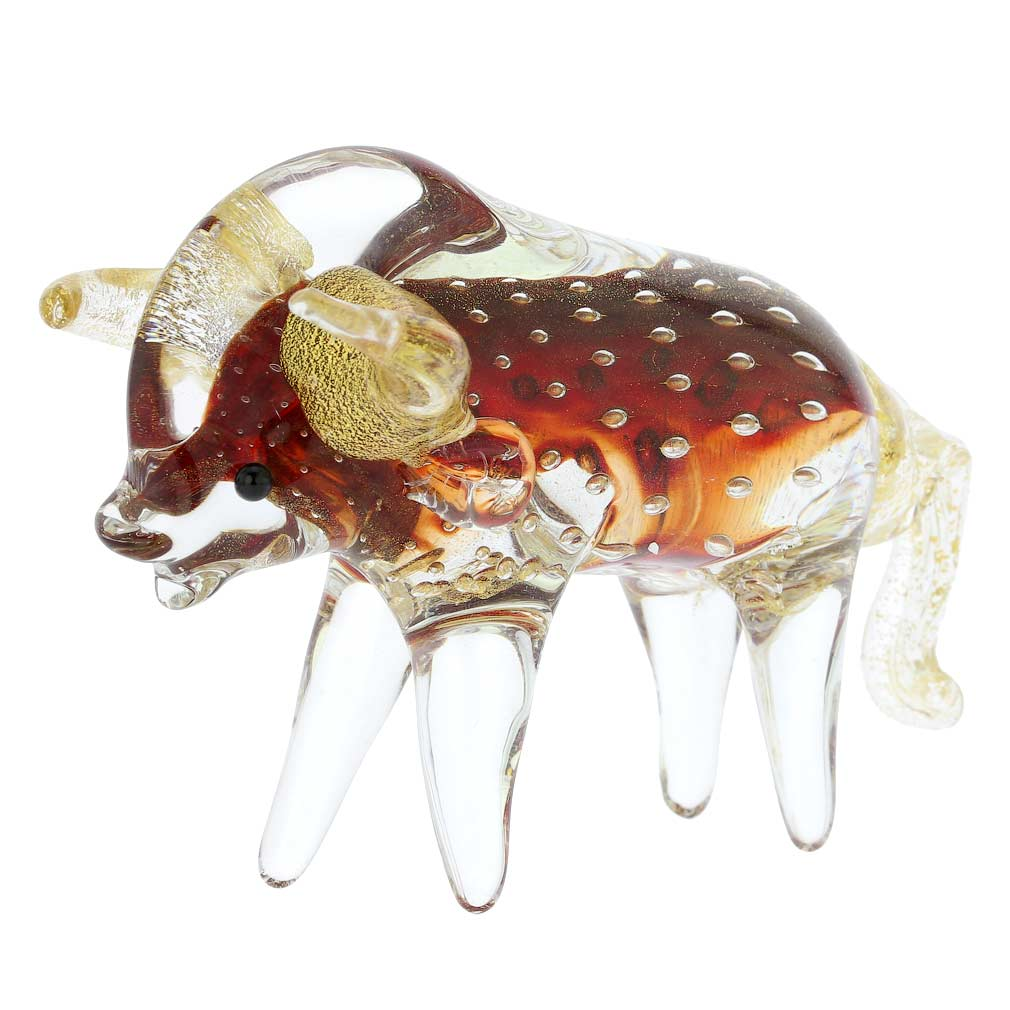 Murano Glass Bullicante Bull - Red