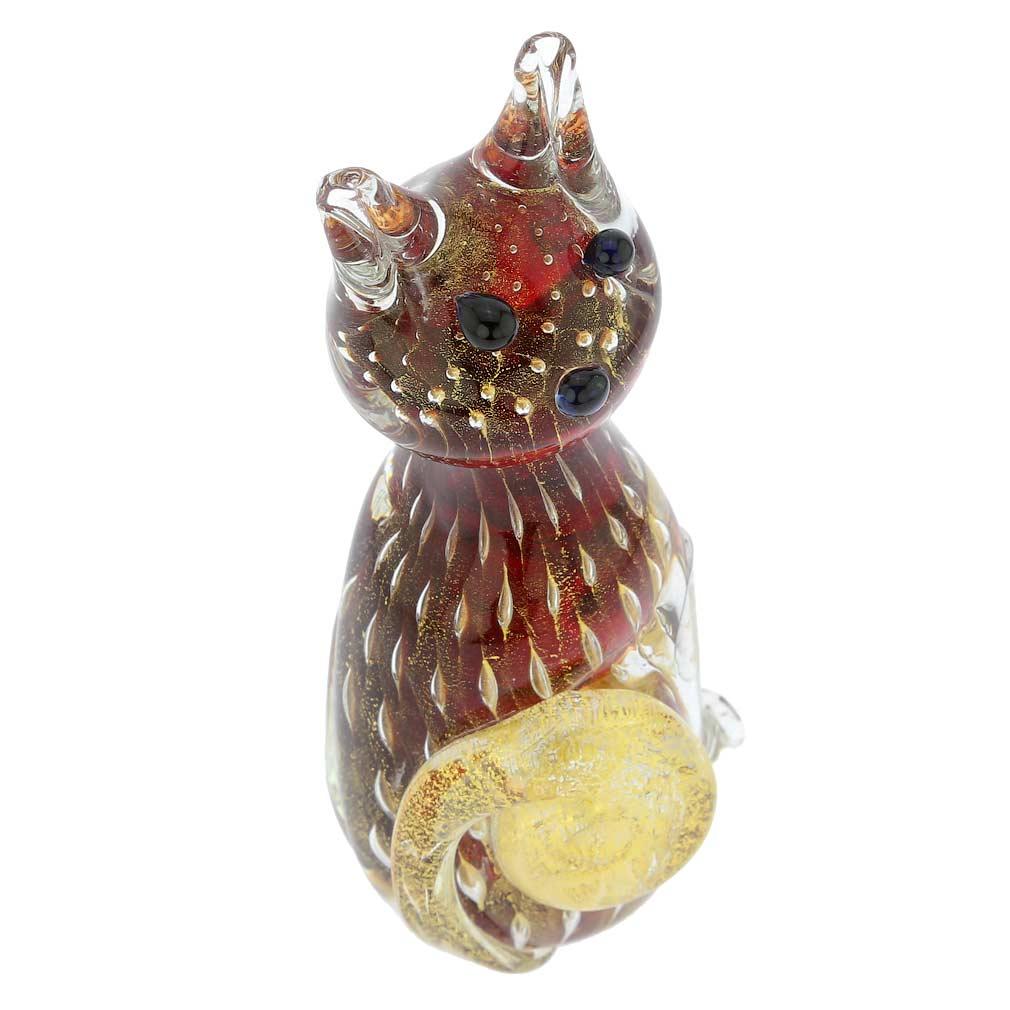 Murano Glass Bullicante Cat - Red