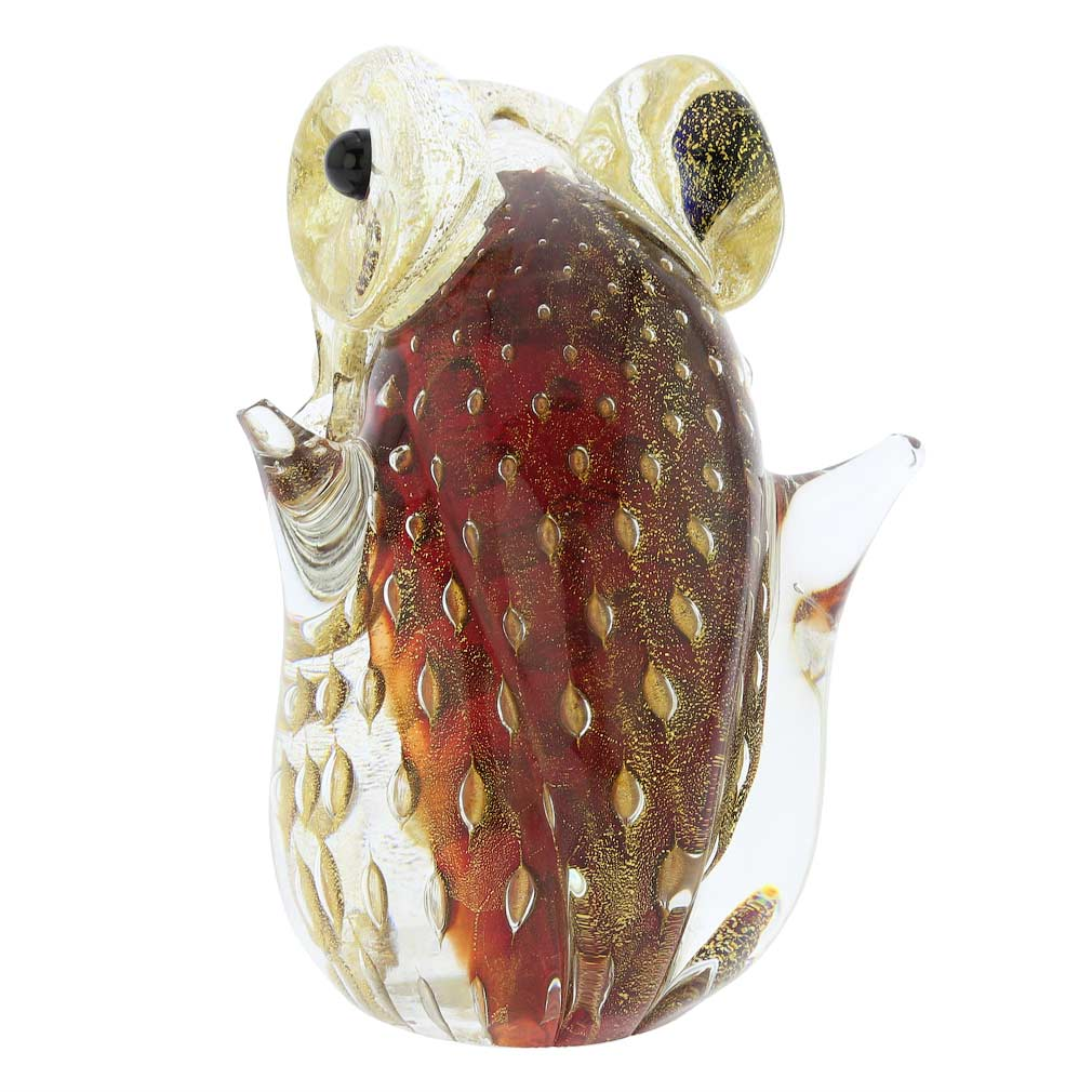 Murano Glass Bullicante Frog - Red