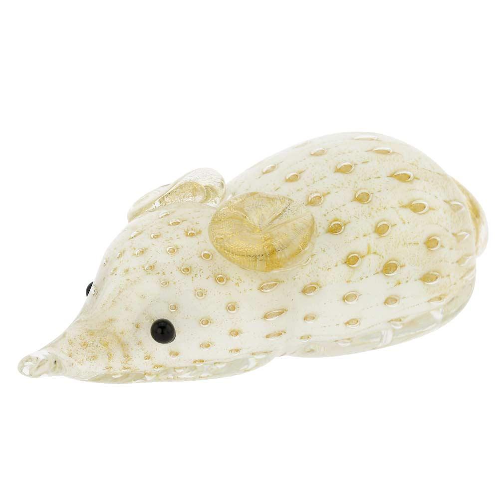 Murano Glass Bullicante Mouse - White