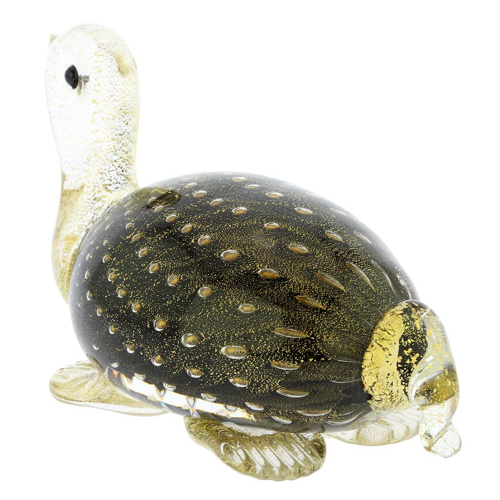 Murano Glass Bullicante Turtle - Black