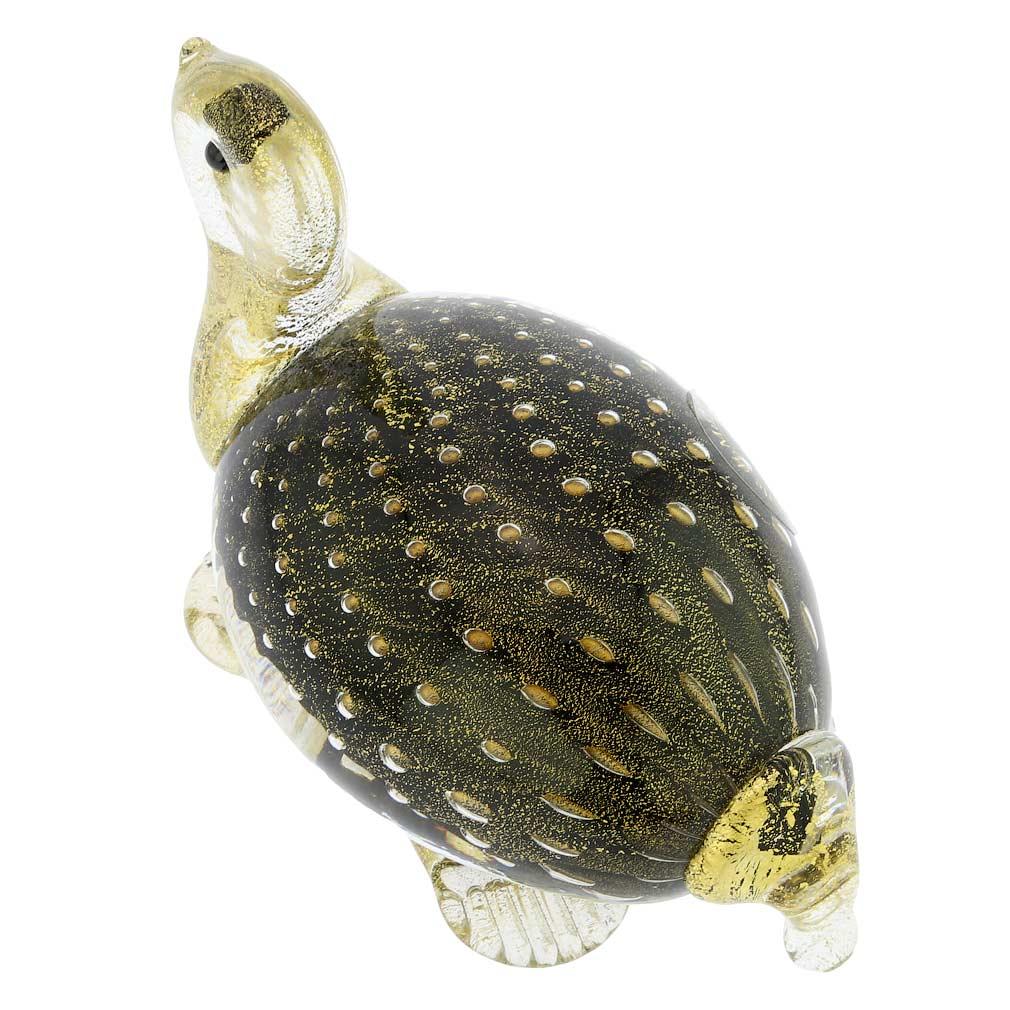 Murano Glass Bullicante Turtle - Black