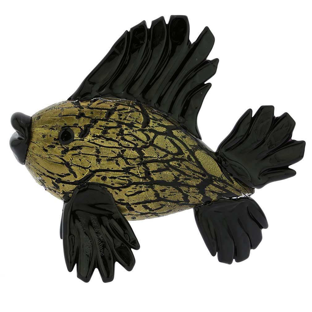 Murano Glass Black Tropical Fish