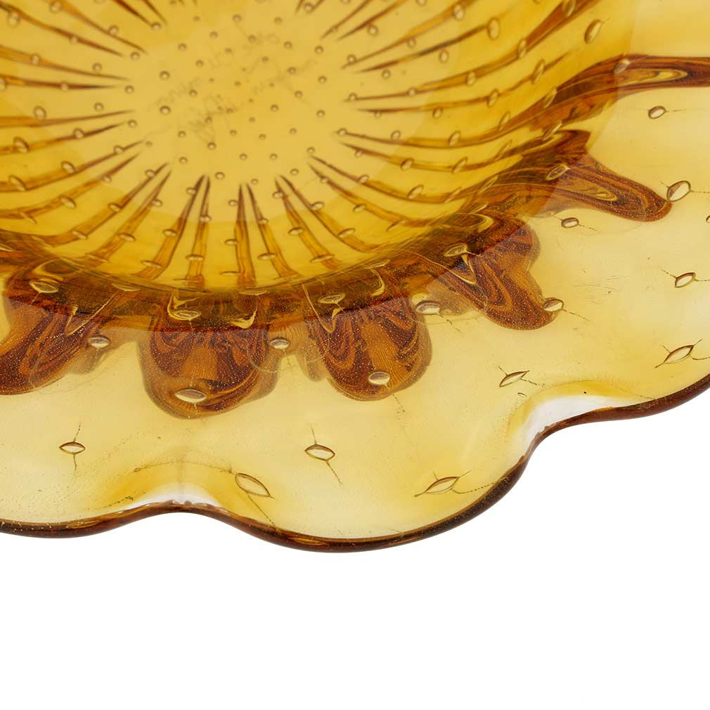 Murano Glass Bullicante Leaf Bowl - Golden Brown