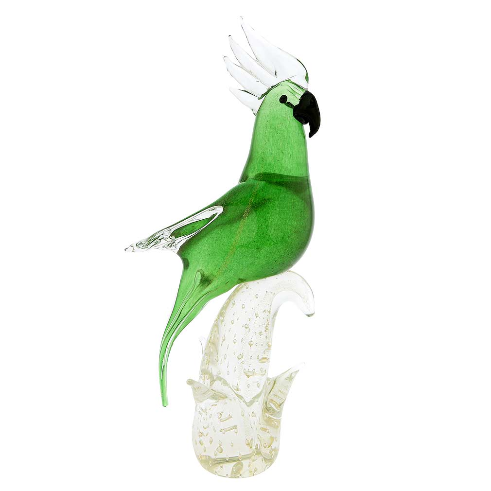 Murano Glass Cockatoo - Green and Gold