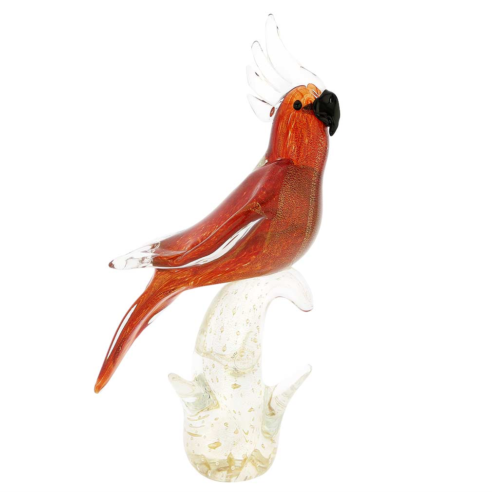 Murano Glass Cockatoo - Red and Gold