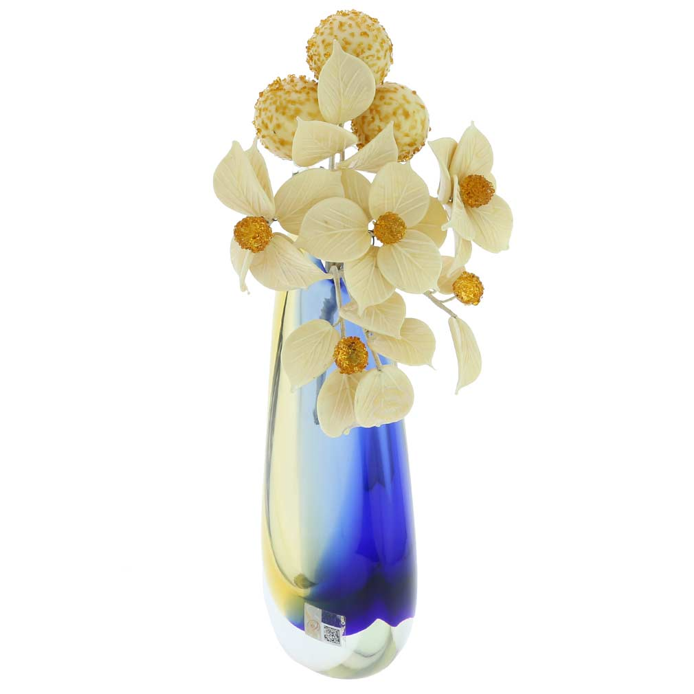 Murano Glass White And Honey Flowers on a Stem