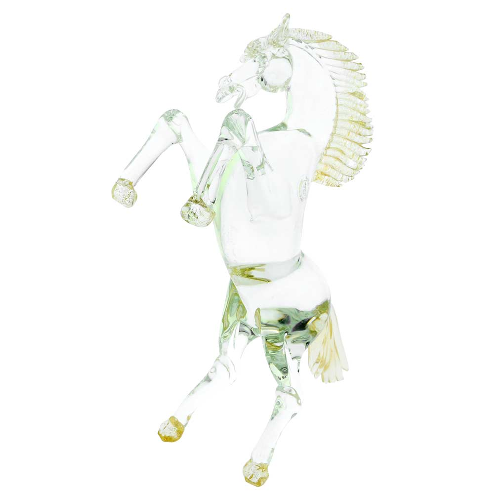 Murano Glass Horse Cristallo Gold - Large