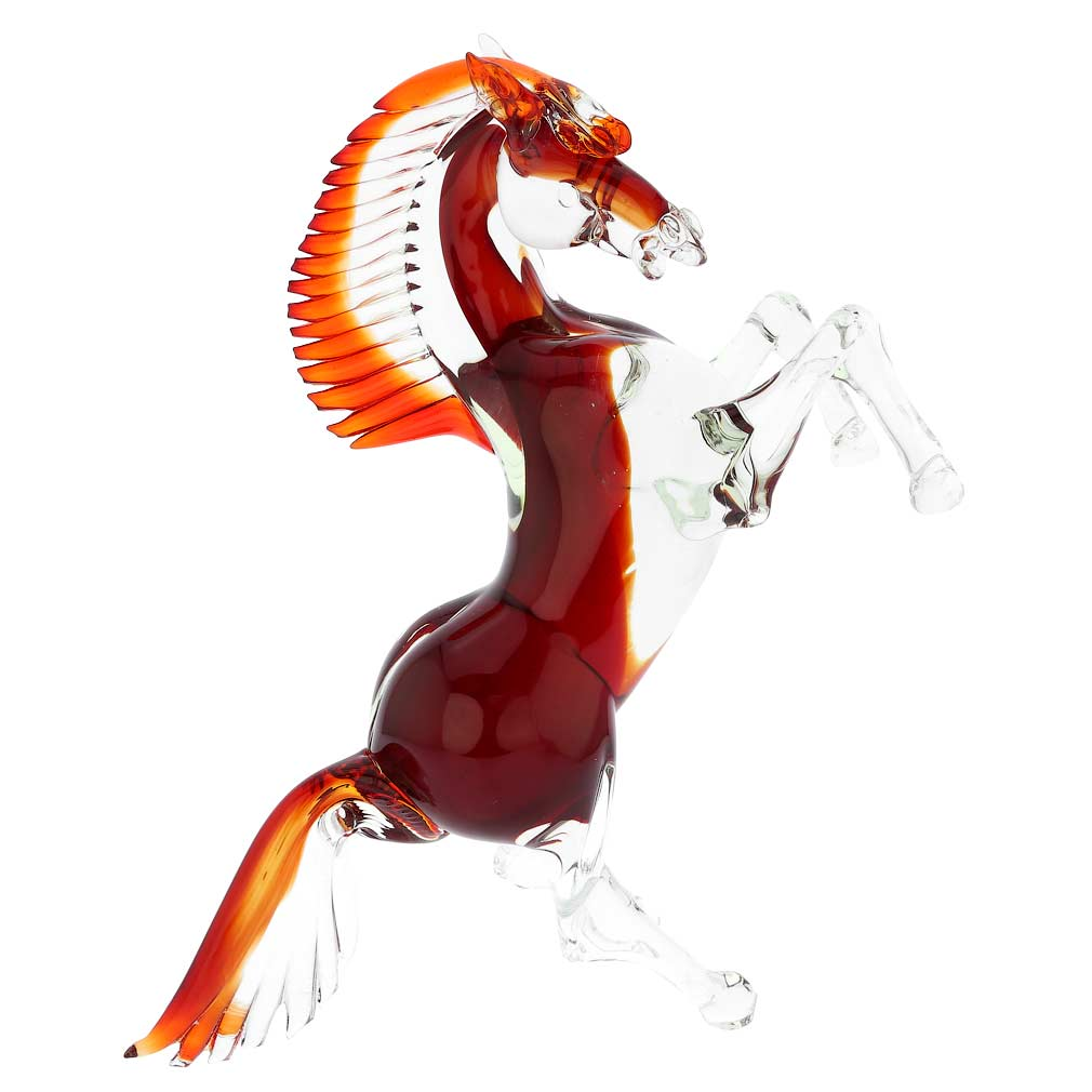 Murano Glass Horse - Cristallo Red - Large