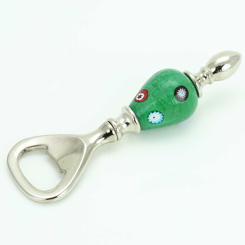 Murano Millefiori Bottle Opener - Green