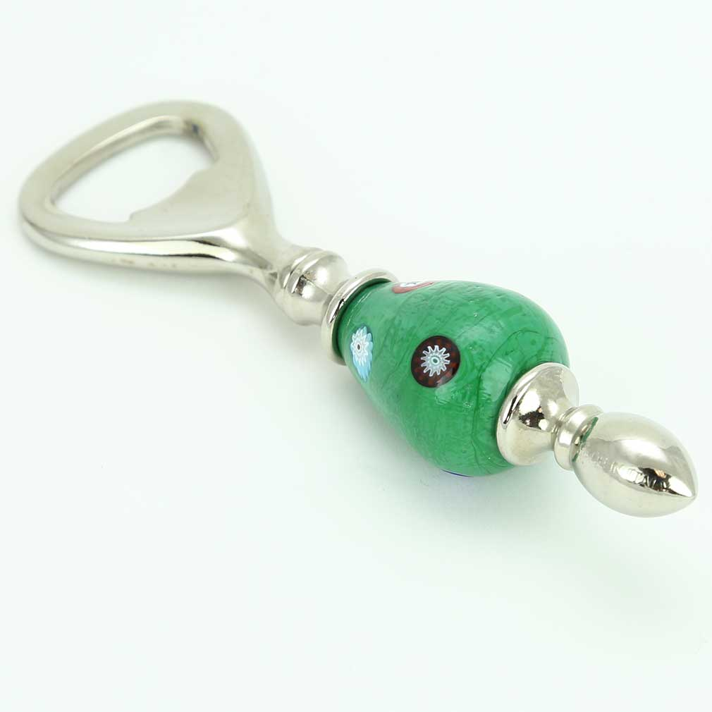 Murano Millefiori Bottle Opener - Green