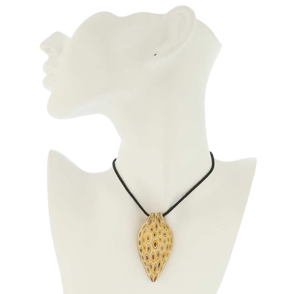 Millefiori Leaf Pendant - Gold