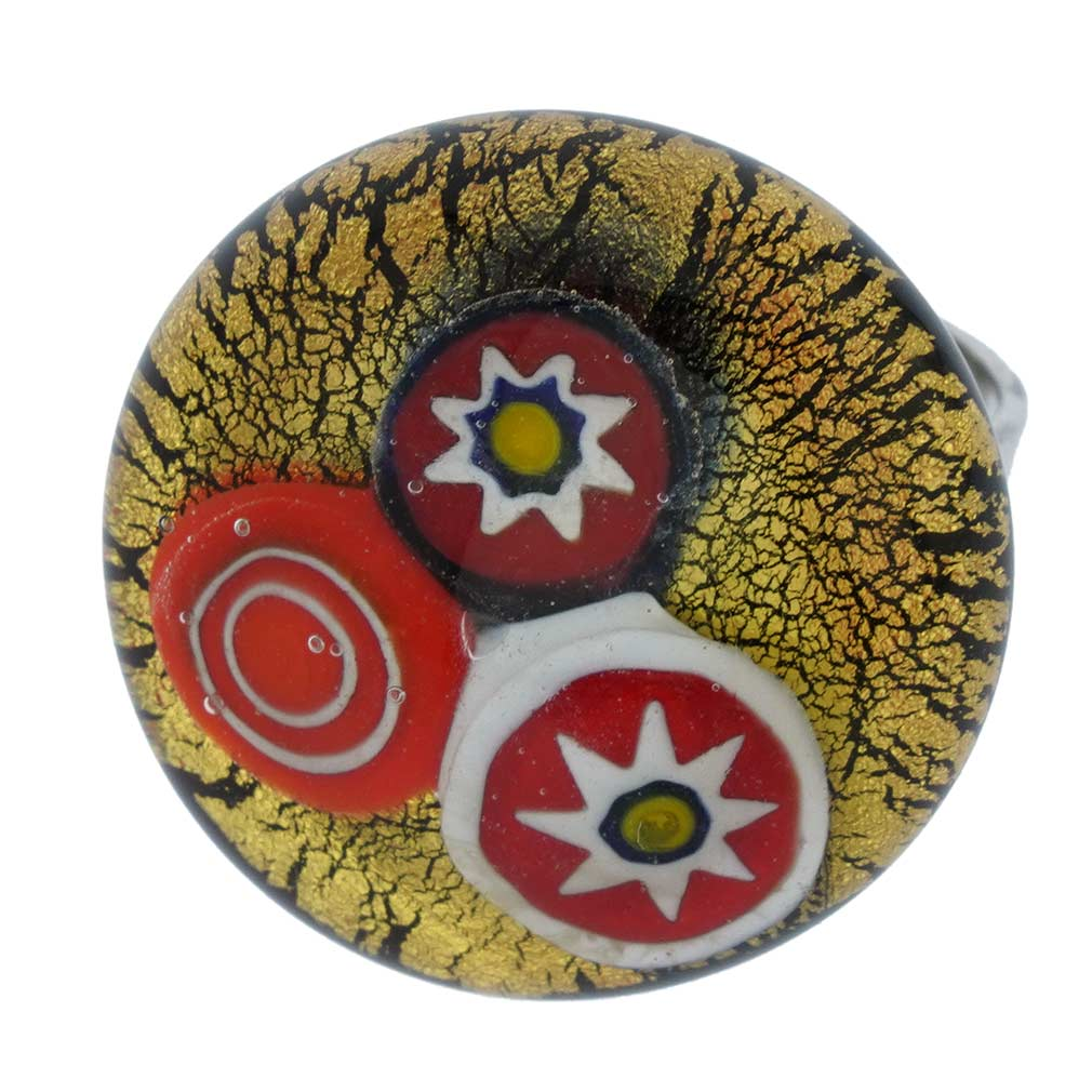 Preziosa Murano Glass Ring - Gold and Silver Grey