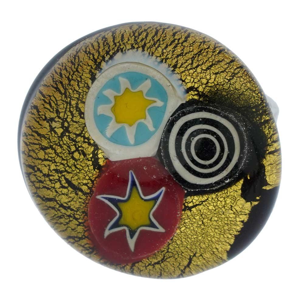 Arlecchino Murano Millefiori Round Ring - Gold