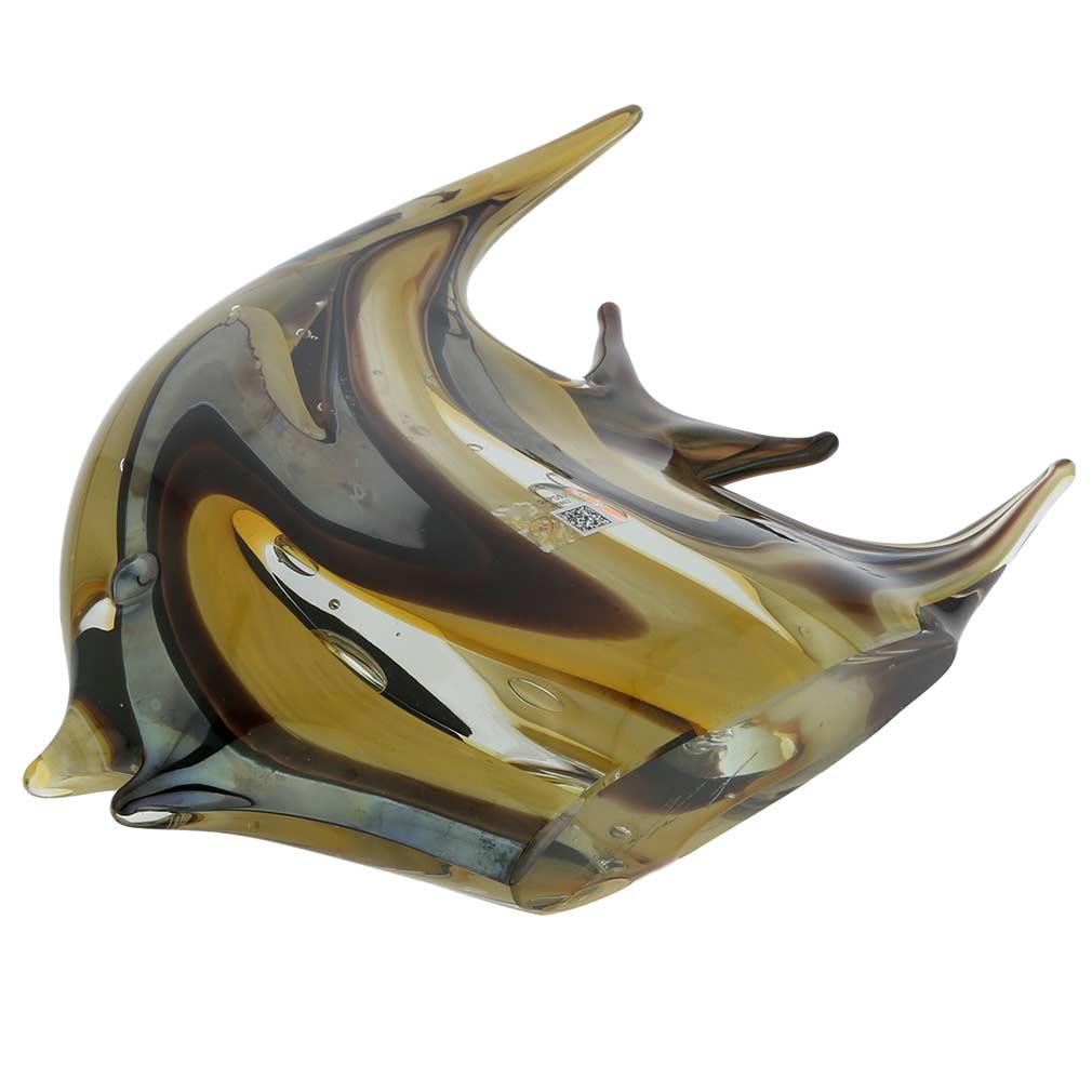 Murano Art Glass Angel Fish - Golden Brown Waves