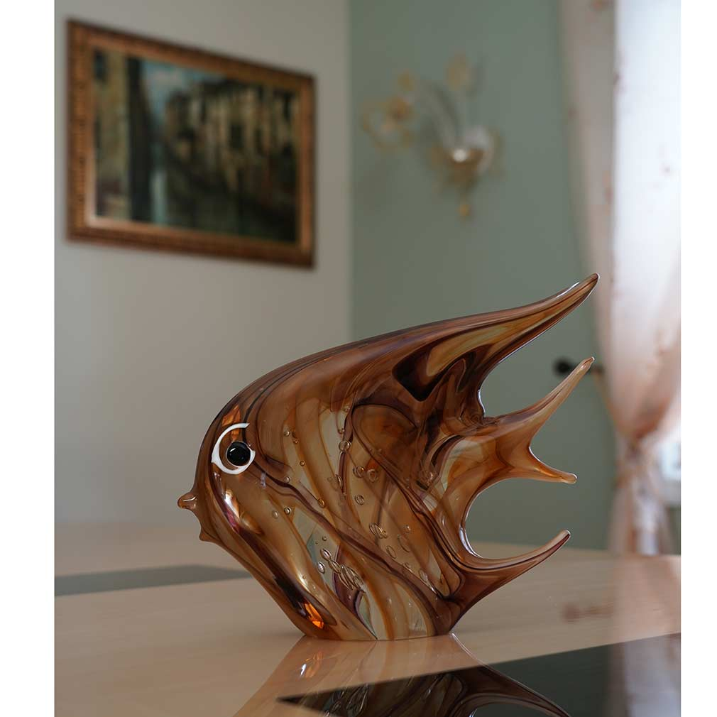 Murano Art Glass Angel Fish - Golden Brown Waves