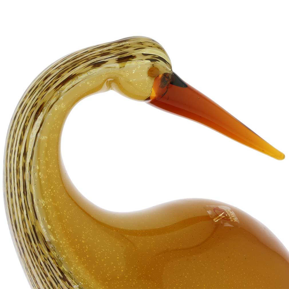 Murano Art Glass Heron Bird With Curved Neck - Gold