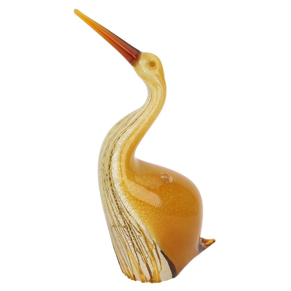 Murano Glass Heron Bird With Outstreched Neck - Gold