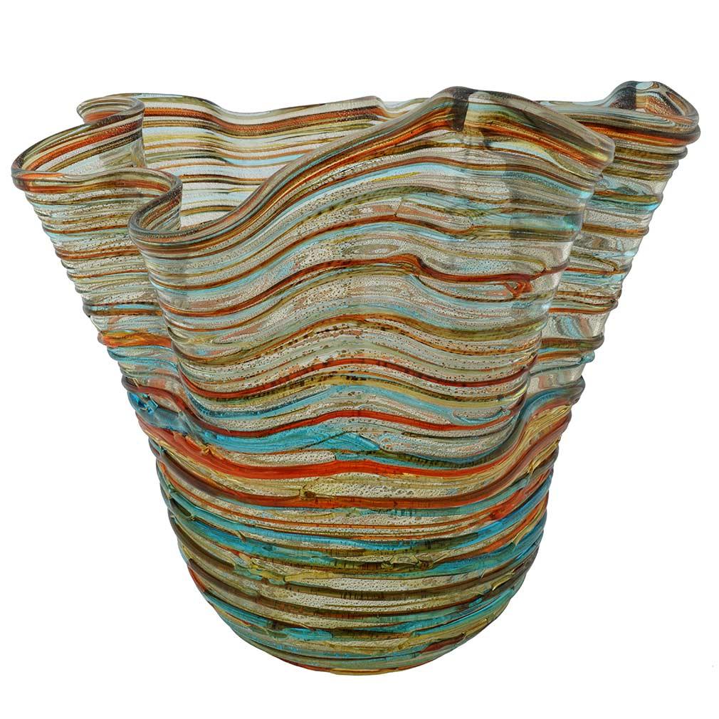 Murano Glass Vesuvio Threaded Wavy Vase