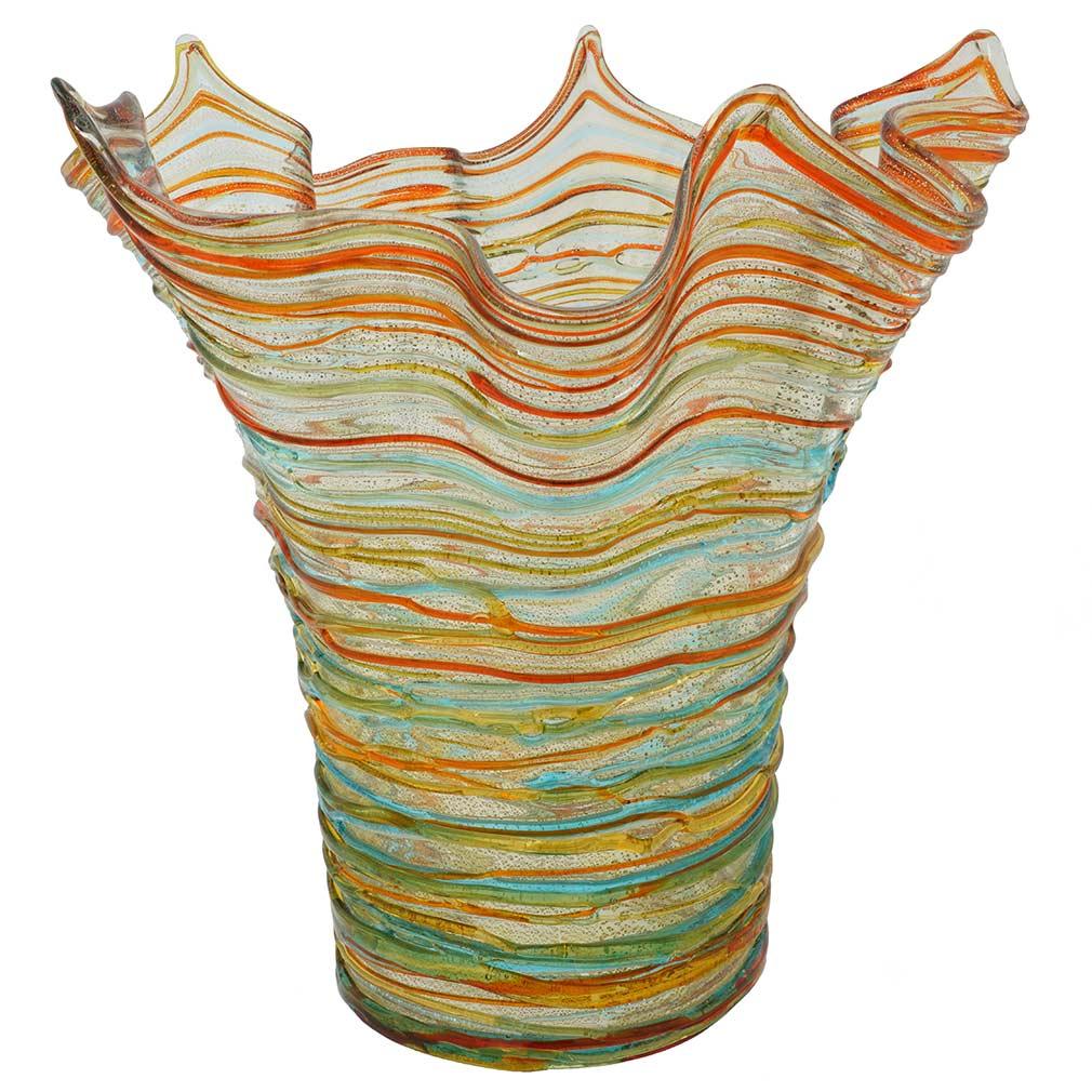 Murano Glass Vesuvio Threaded Fazzoletto Vase
