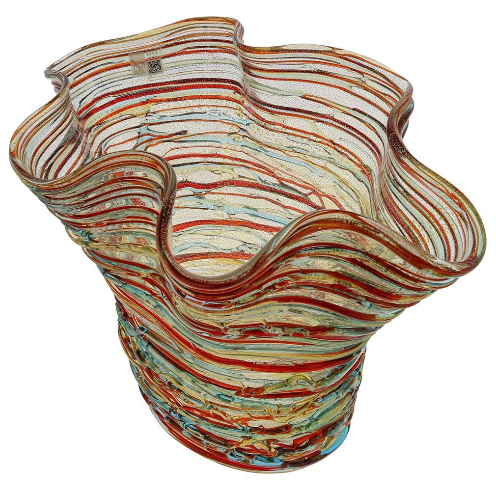 Murano Glass Vesuvio Threaded Wide Wavy Vase