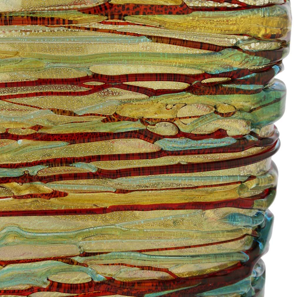 Murano Glass Vesuvio Threaded Oval Vase