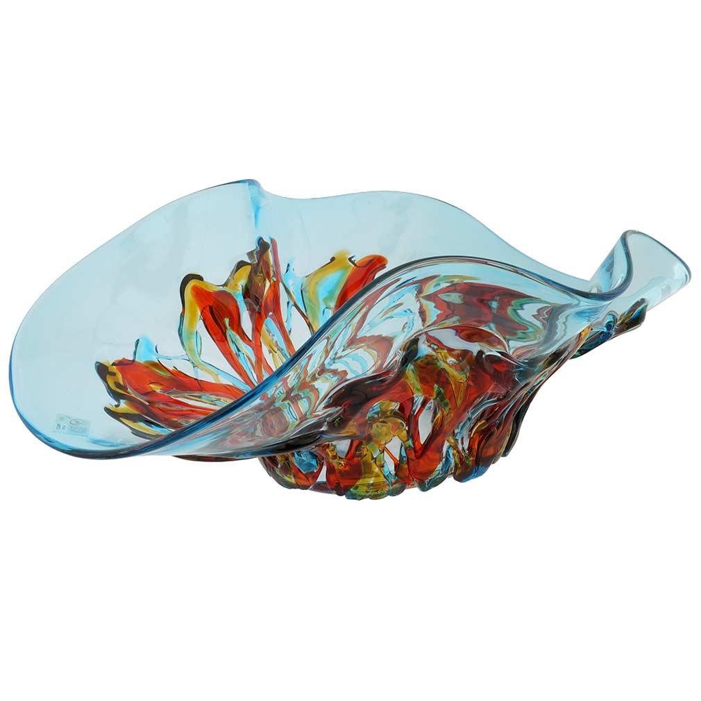 Murano Glass Oceanos Centerpiece Bowl - Aqua Blue