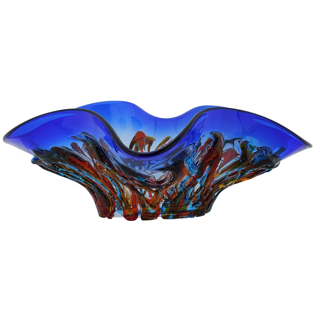 Murano Glass Oceanos Centerpiece Bowl - Blue and Red