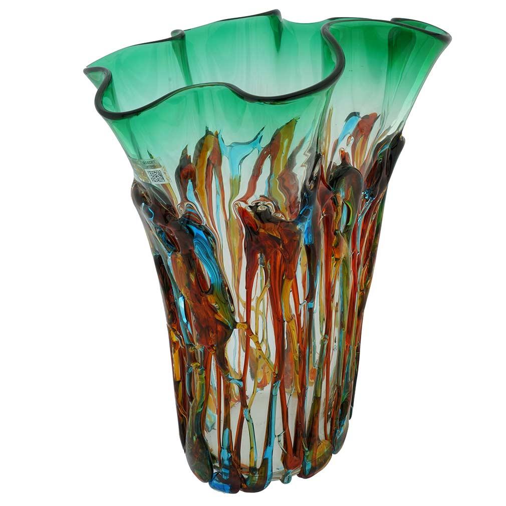 Murano Glass Oceanos Abstract Art Vase - Green