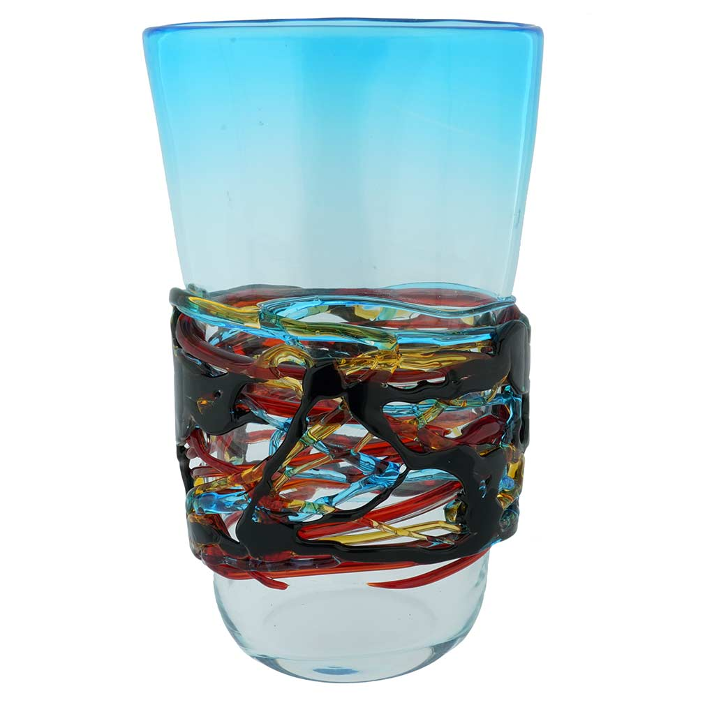 Murano Glass Vesuvio Oval Vase - Aqua Blue