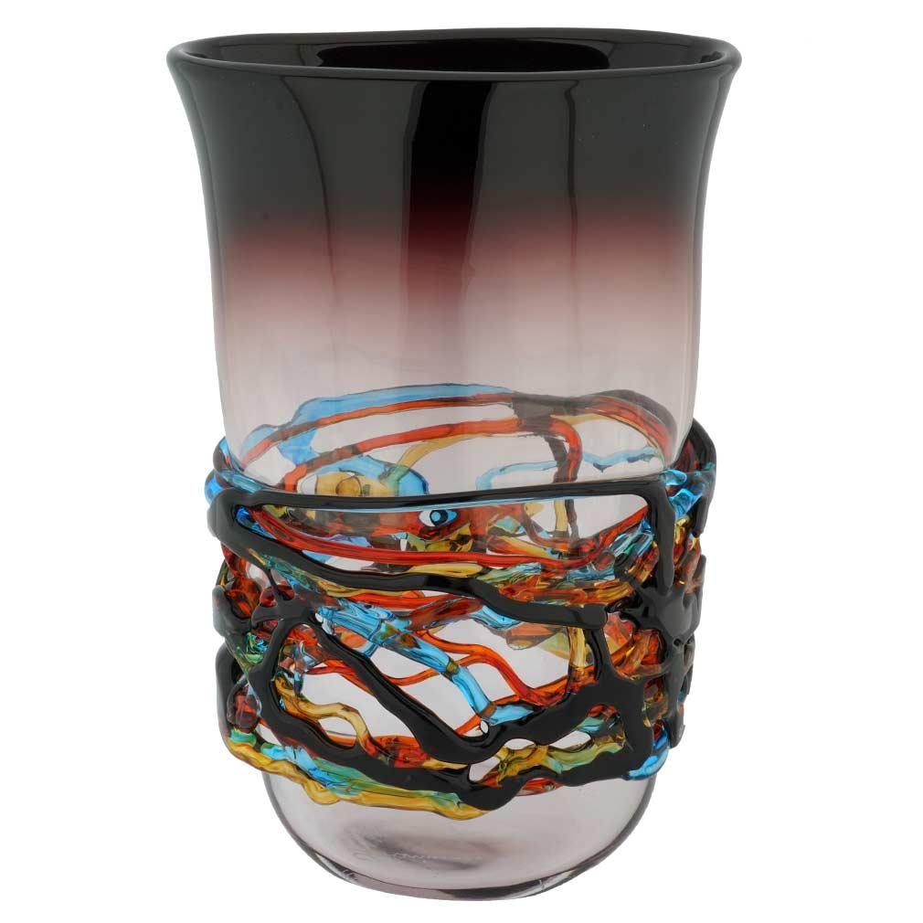 Murano Glass Vesuvio Oval Vase - Purple