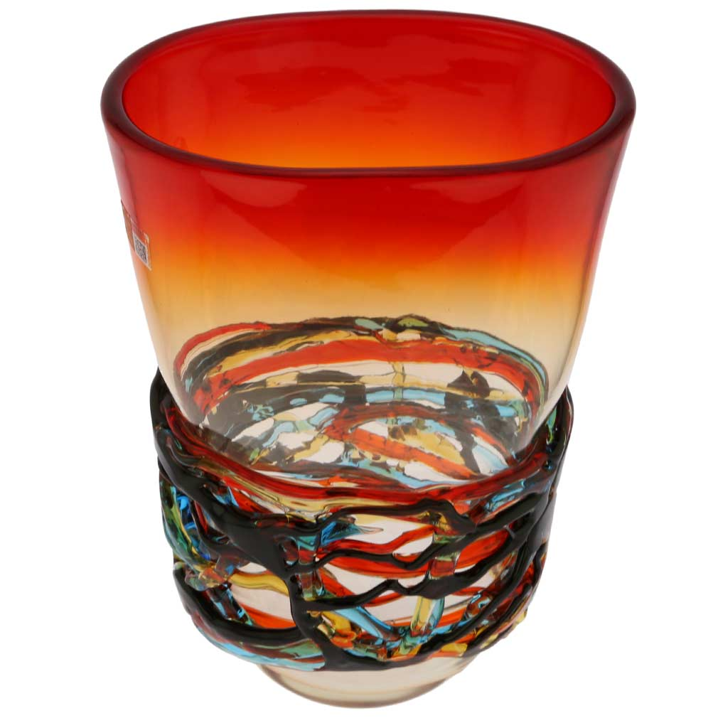 Murano Glass Vesuvio Oval Vase
