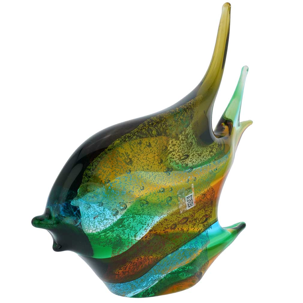 Murano Art Glass Wide Angel Fish - Green Blue Brown