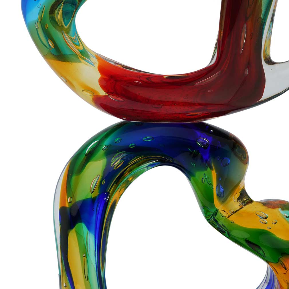 Murano Glass Stacked Hearts Sculpture