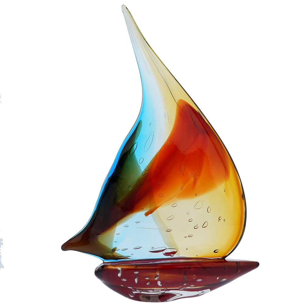 Murano Glass Sailboat Rainbow Glass Sailboat Sculpture