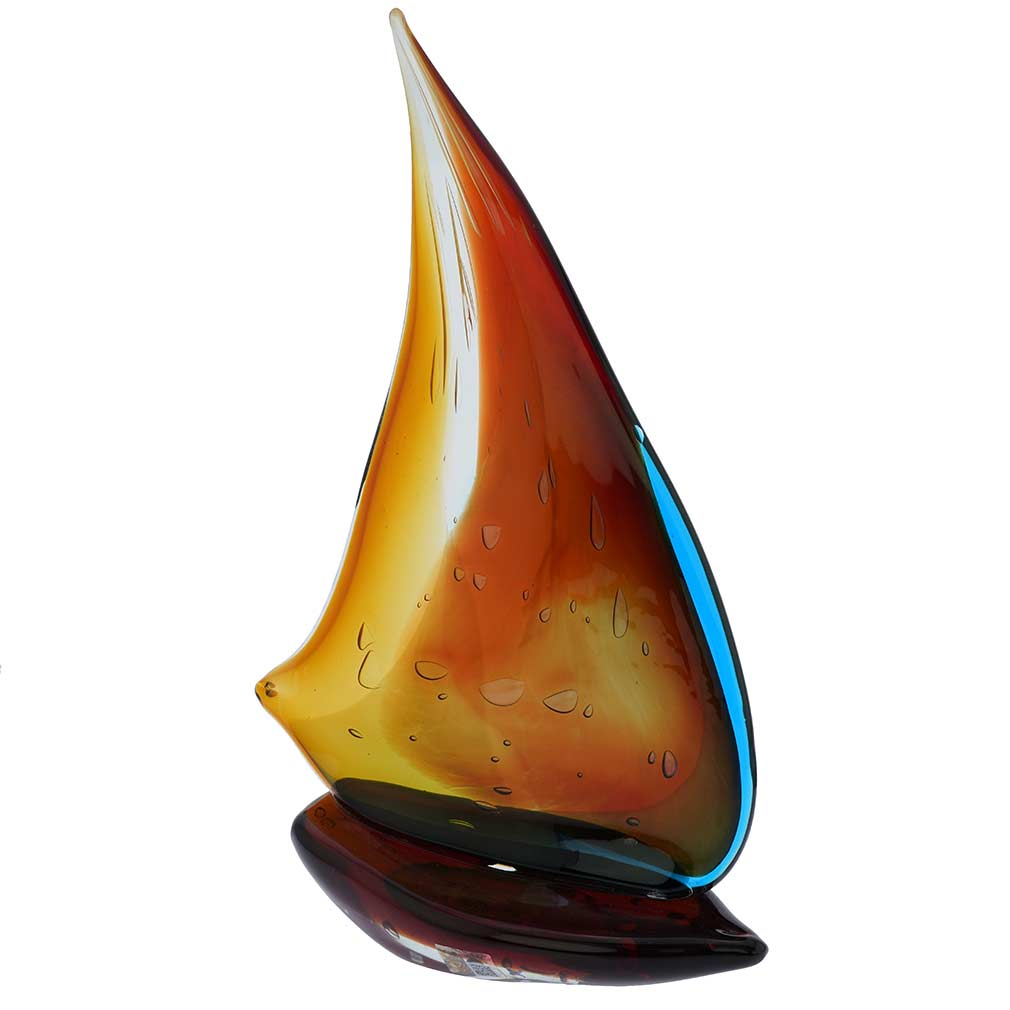 Art Glass Large Sailboat - Rainbow