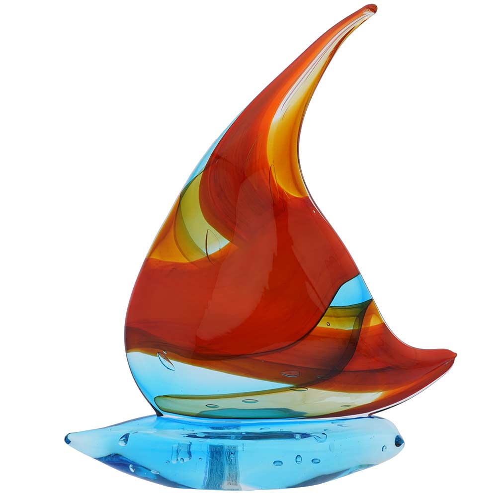 Art Glass Large Sailboat - Sky Blue and Red