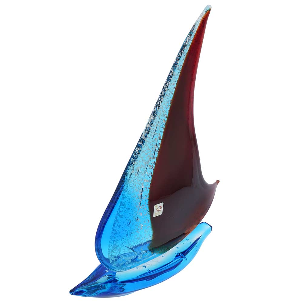 Art Glass Large Sailboat - Silver Aqua and Red