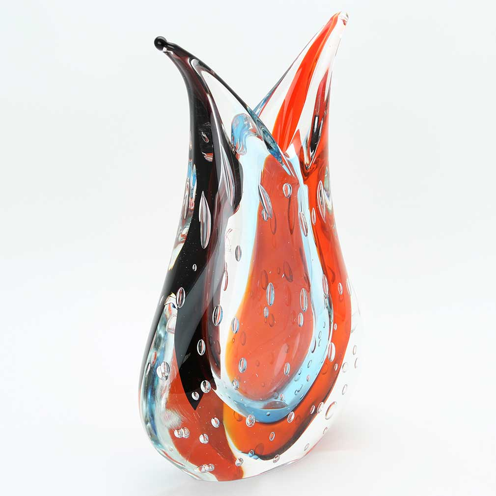 Murano Art Glass Sommerso Vase - Red and Purple