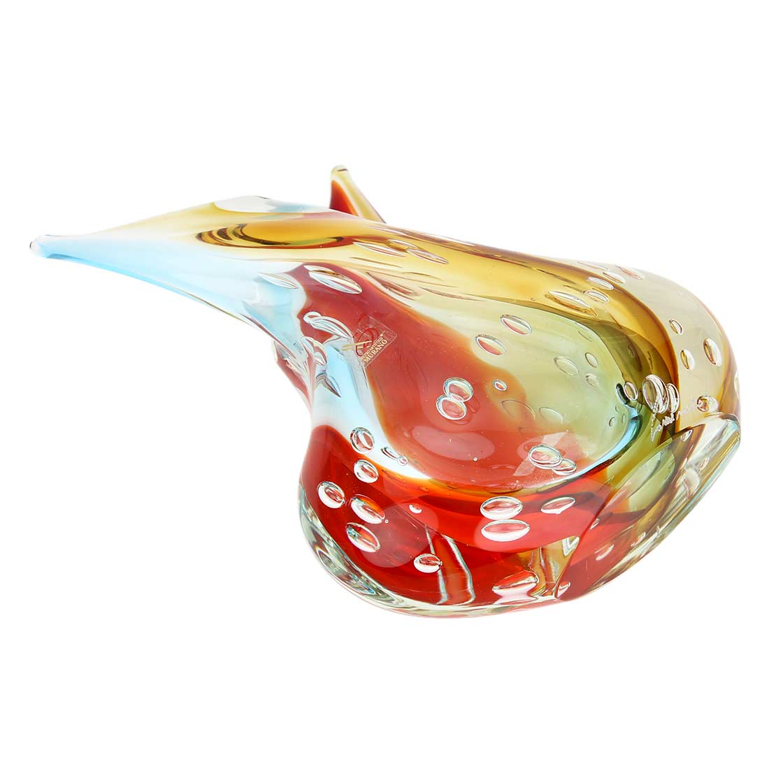 Murano Art Glass Sommerso Leaves Vase - Venetian Sunrise