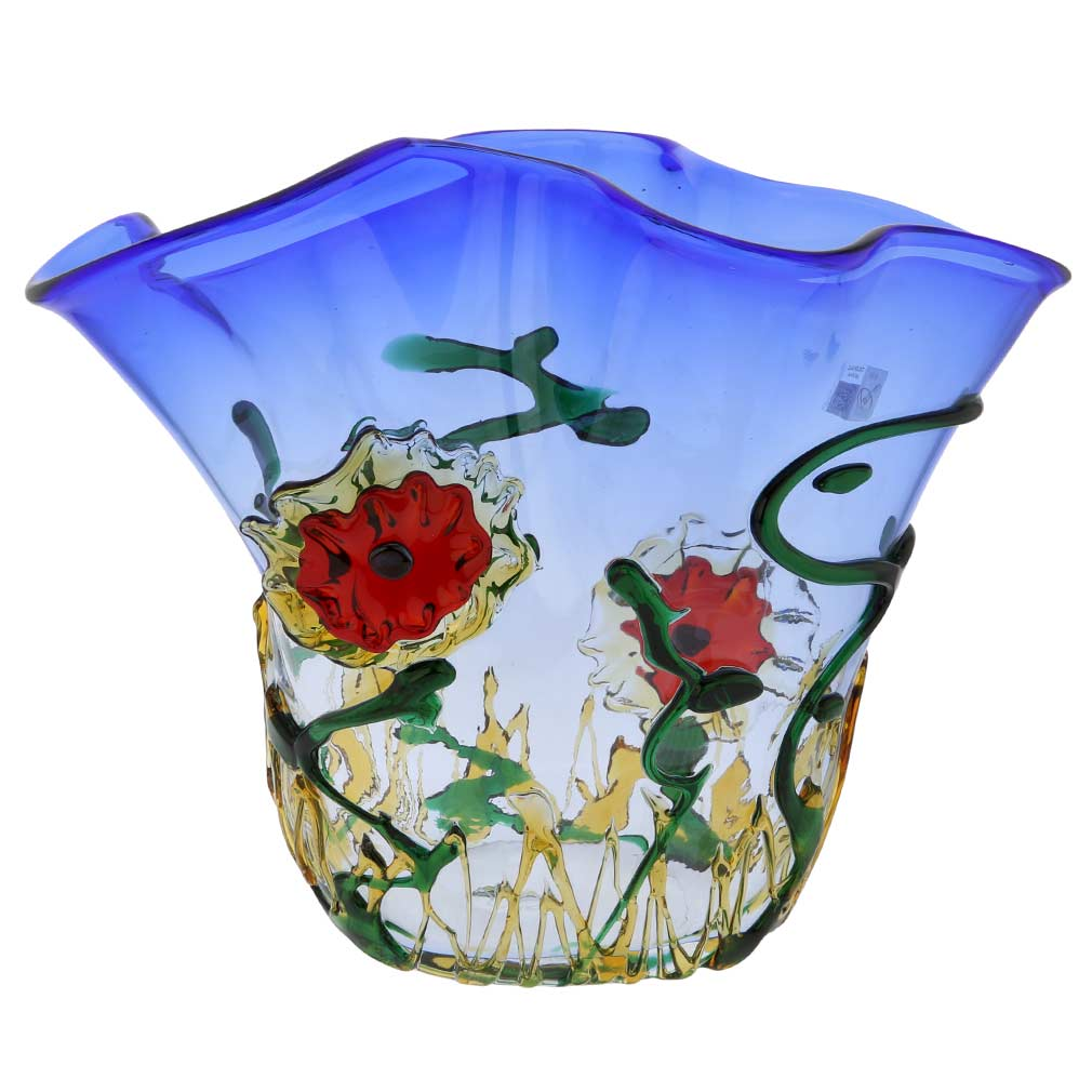 Murano Glass Abstract Flower Bowl - Blue