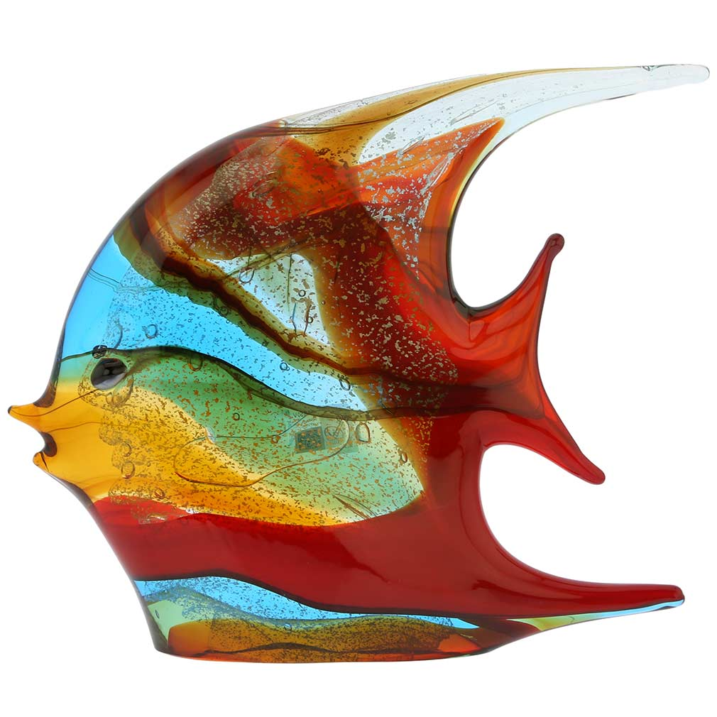 Murano Art Glass Wide Angel Fish - Multicolor
