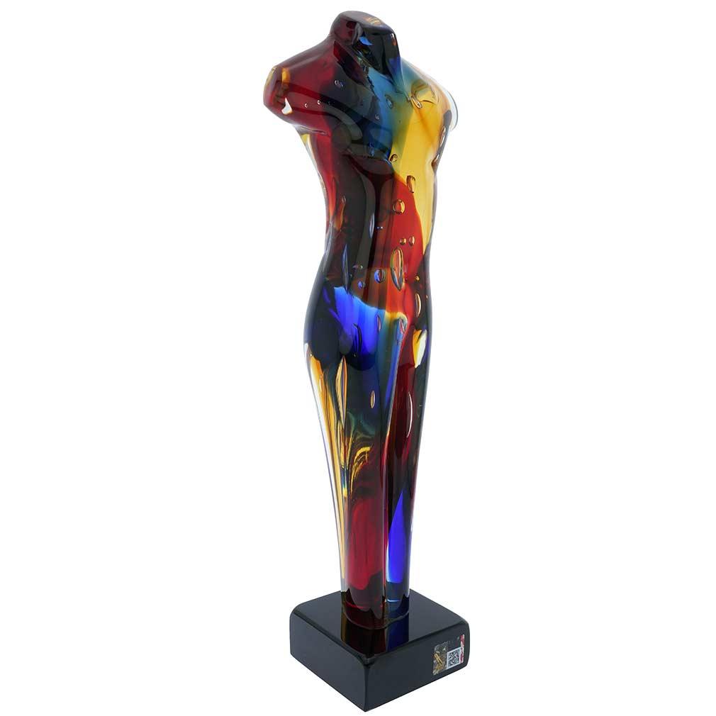 Murano Glass Sommerso Male Torso Figure