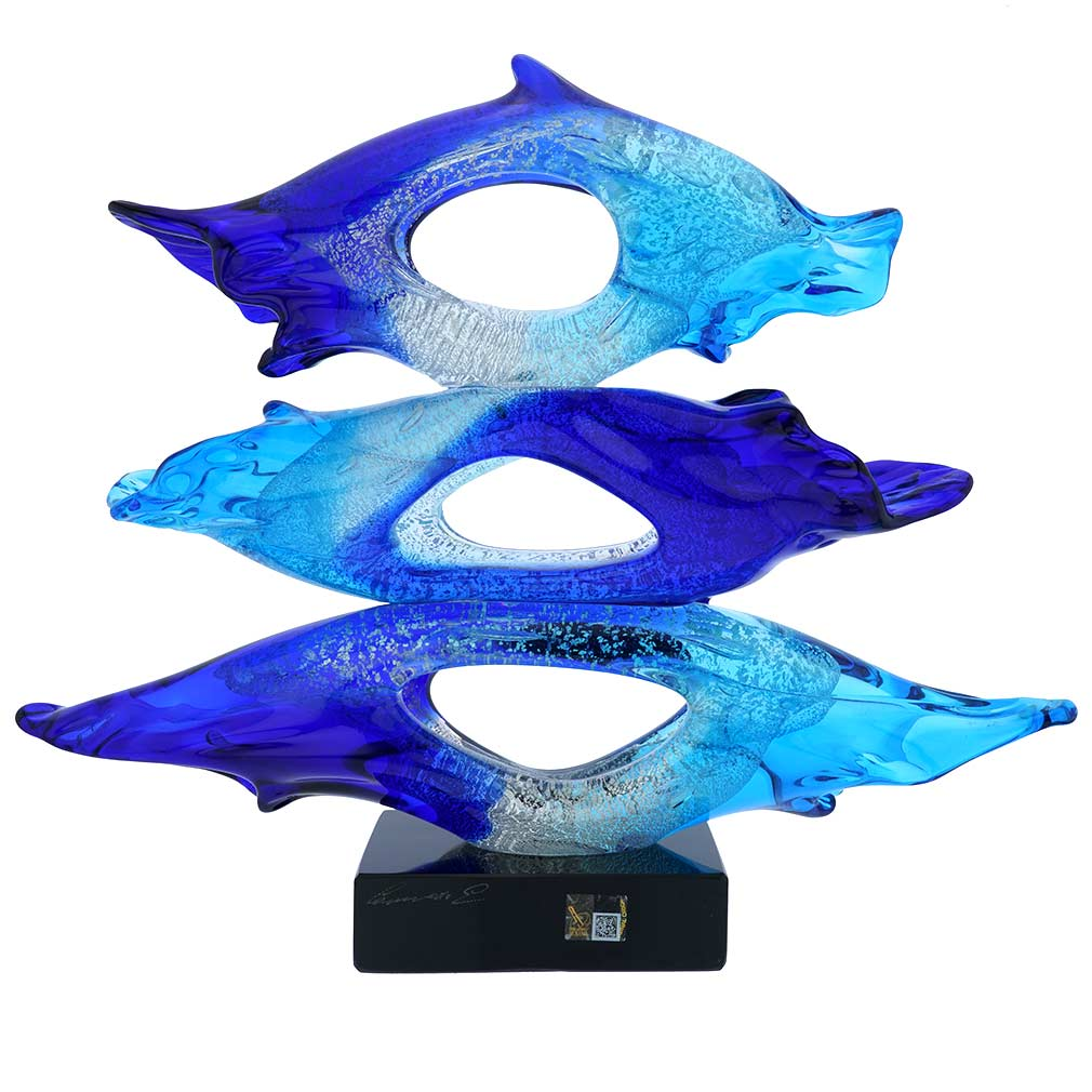 Murano Glass Abstract Sea Sculpture - Aqua Blue