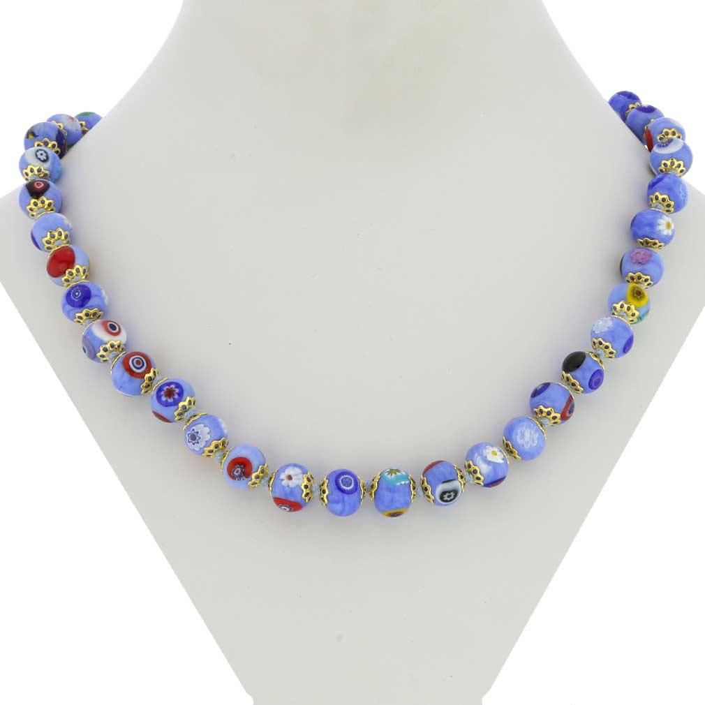 Murano Mosaic Necklace - Sky Blue