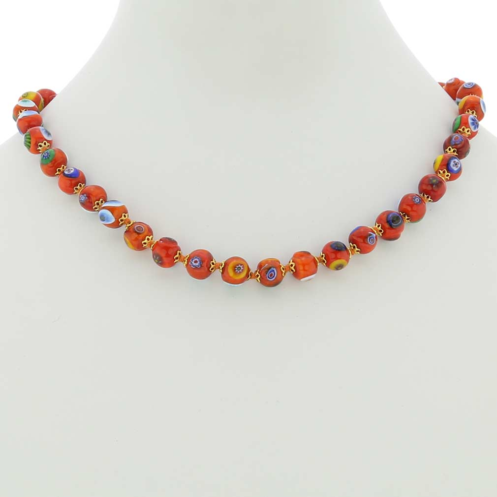 Murano Mosaic Necklace - Orange