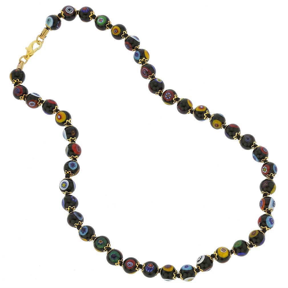Murano Mosaic Necklace - Black