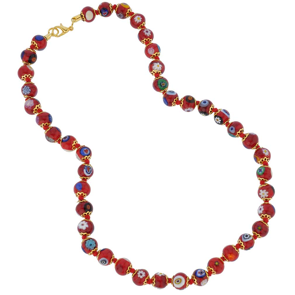 Murano Mosaic Necklace - Red