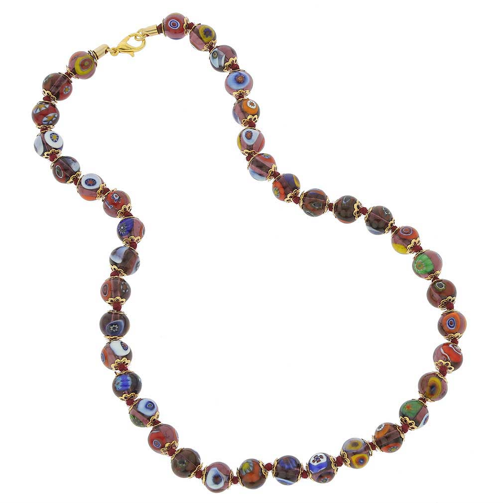 Murano Mosaic Necklace - Transparent Amethyst