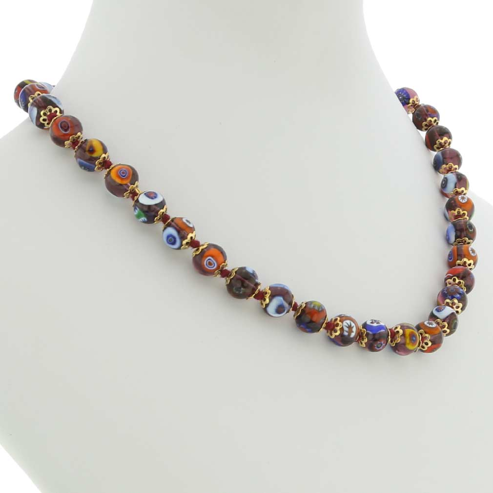 Murano Mosaic Necklace - Transparent Purple